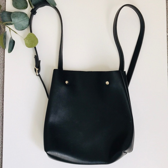 Urban Outfitters Handbags - Black Faux Leather Bucket Bag/Backpack